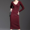 /product-detail/women-clothing-plain-burgundy-long-sleeve-one-piece-slim-women-dresses-60574025019.html