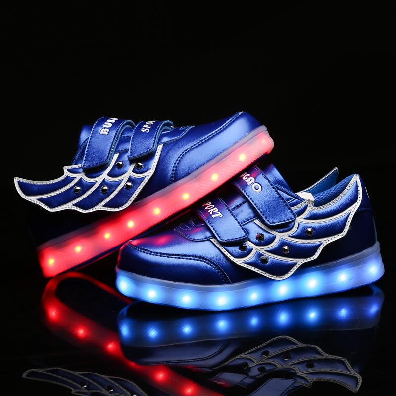 USB charging 7 color Kids wings LED Lighted Sneakers Fashion Children Luminous Colorful lights shoes Girls Boy Casual Shoes blue