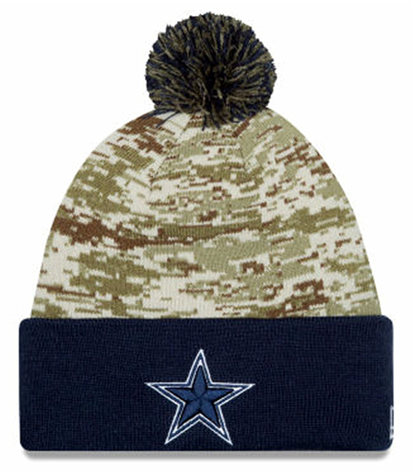 6067148a46a91 ... reduced get quotations dallas cowboys new era 2015 salute to service on  field pom knit hat