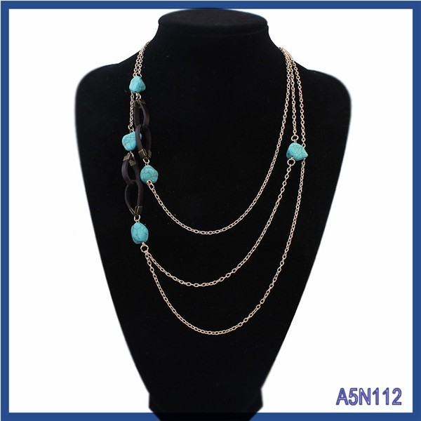 2015 China wholesale Summer rosary jewelry fashion simple sweet blue resin charms necklace dubai gold plated thin chain necklace