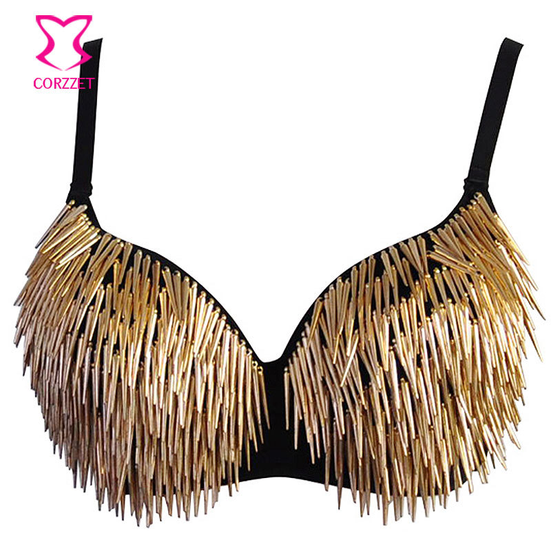 aad2e40d69f Metallic Rivets Spike Bra Push Up Bralette Sexy Soutien Gorge Steampunk  Studded Bras for Women Burlesque