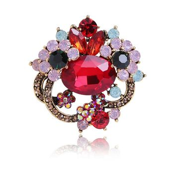 Fashion Exaggerated Colorful Flower Brooch Chinese Style Crystal Rhinestone Brooch Pins
