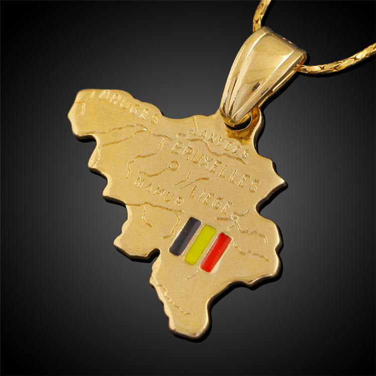 AliExpress Best Selling Copper Jewelry Map Necklace 18K Gold Plated Belgium Map Pendant Necklace
