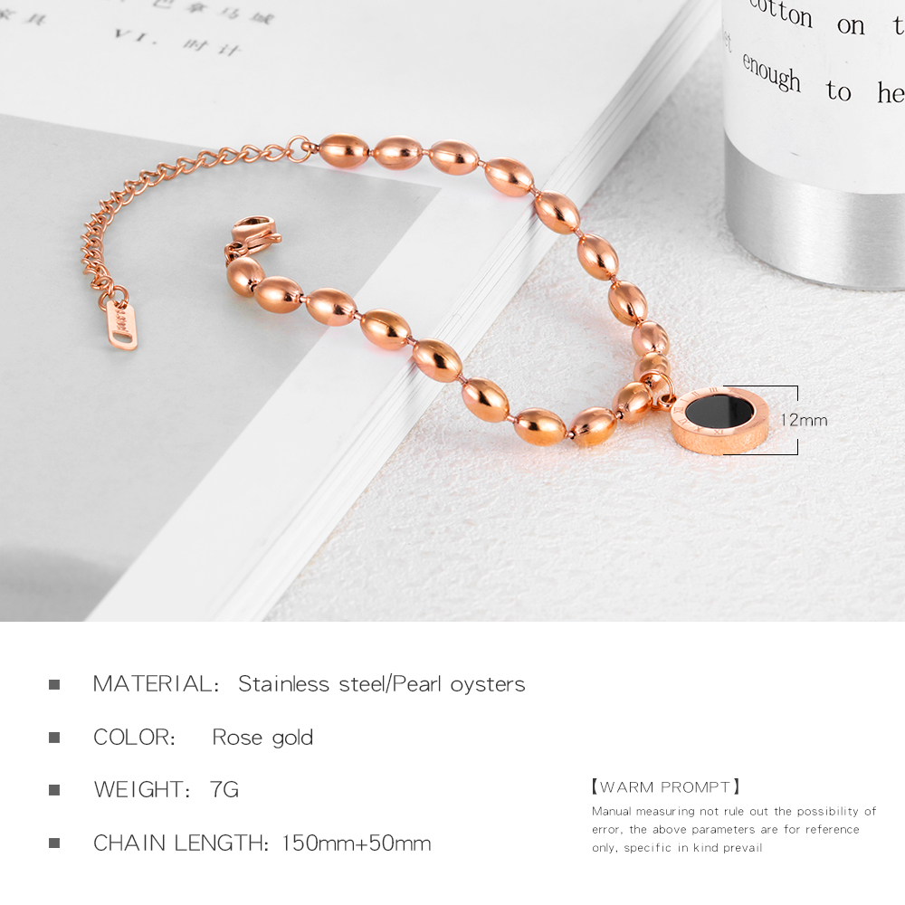 Wholesale Women Stainless Steel Shell Charm Rice Shape Bead Chain Bracelet