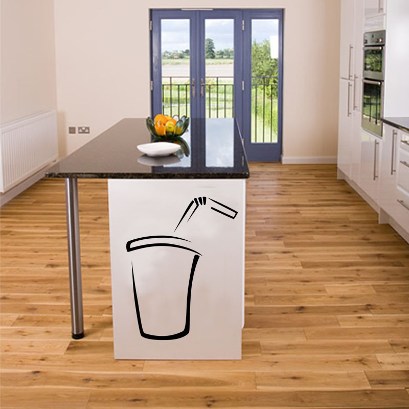 Simple Fashion Home Decor Soda DIY Decorative Wall Sticker Waterproof Removable Black Printed Vinyl Decal For Kitchen