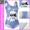 OEM Accepted Pretty Blue Grids with Unique Pattern Ladies Mature Swimsuit