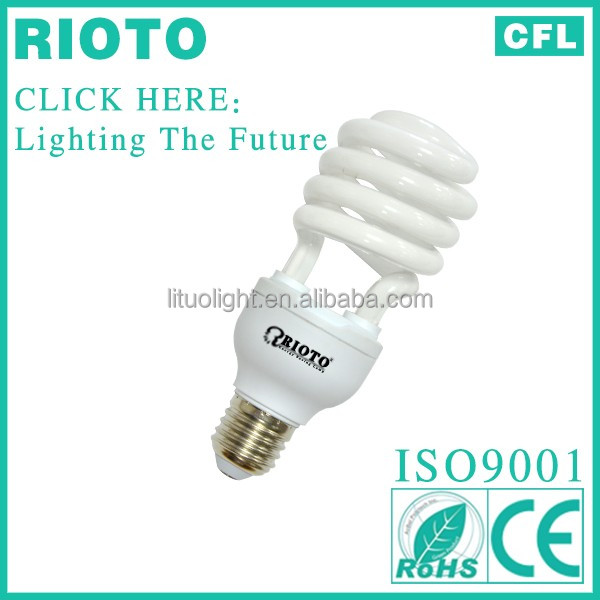 8000hours 100% Tri-Color E27 12w 7mm 6500k Half Spiral Energy Saving lamp cfl bulb self ballast compact fluorescent lamp
