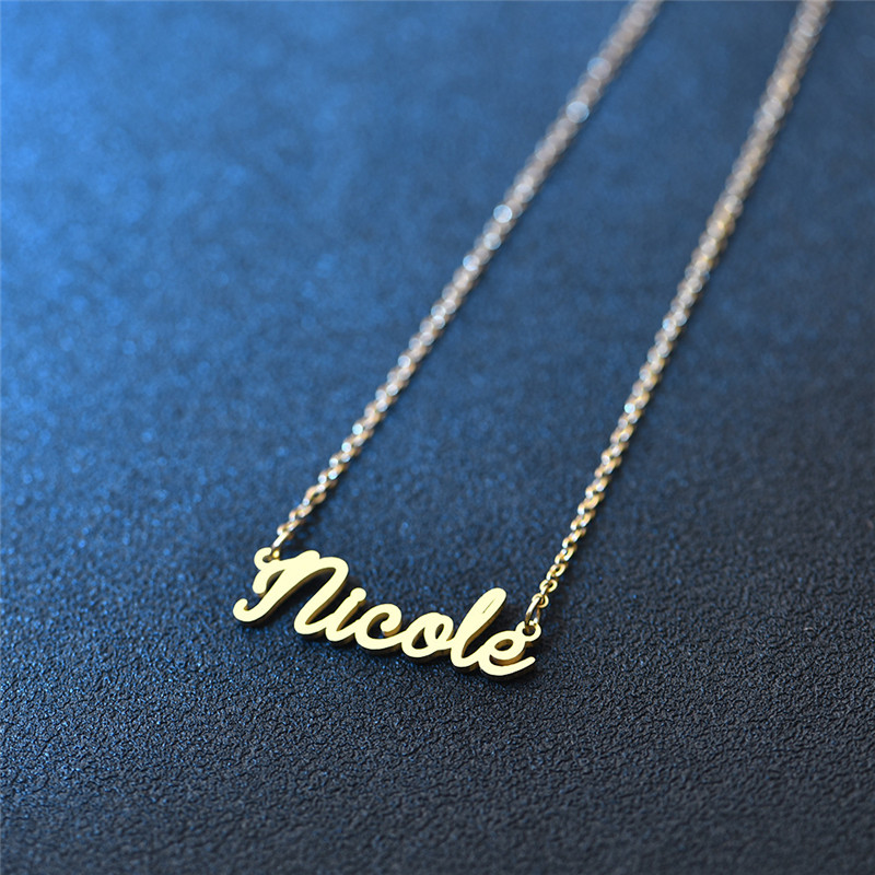 Hot sale laser casting necklace 14k gold chain name plate necklace personalised