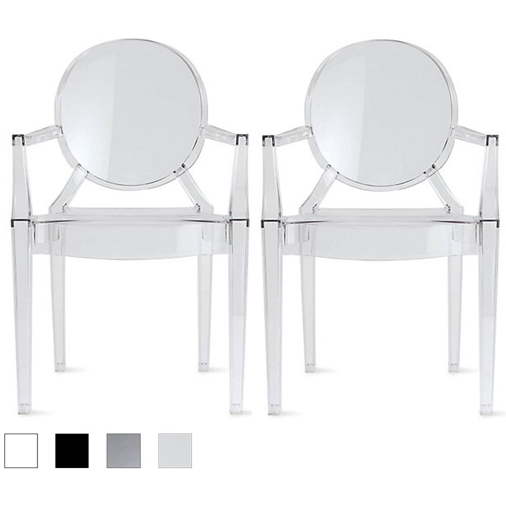 Get Quotations · 2xhome U2013 Set Of 2 , Modern Contemporary Louis XIV Dining  Chair Armchair Ghost Style Ghost