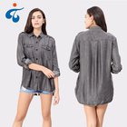 Different kinds of good selling professional casual denim cheap lady blouse