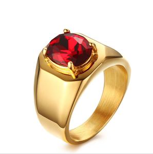 Fashion Trend Men's Rings 17MM Stainless Steel Red Zircon Rings New Golden Style