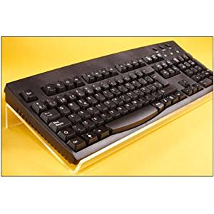 """Viziflex Angled Keyboard Stand - Angled or Tilted Stand for Easy Ergonomic (Ergo) Typing - Angled, clear and sturdy. Fits All Standard Keyboards, Including Big Keys and Large Print Standard, and Small Mini Keyboards - Size: 17"""" wide x 6"""" deep - Does Not Include Keyboard"""