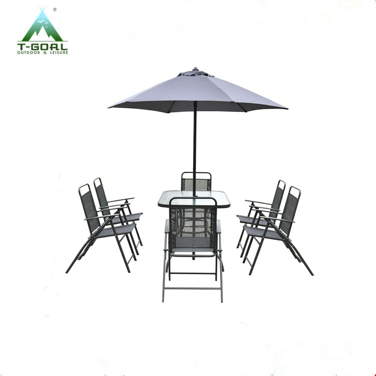 8PCS Patio Garden Set 6 Folding Chairs Table with Umbrella