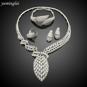 Gorgeous wedding jewellery set silver plated jewellery