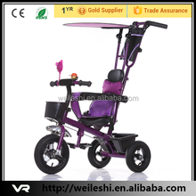 Low Price and High Quality 4 in 1 baby tricycle with big soft seat