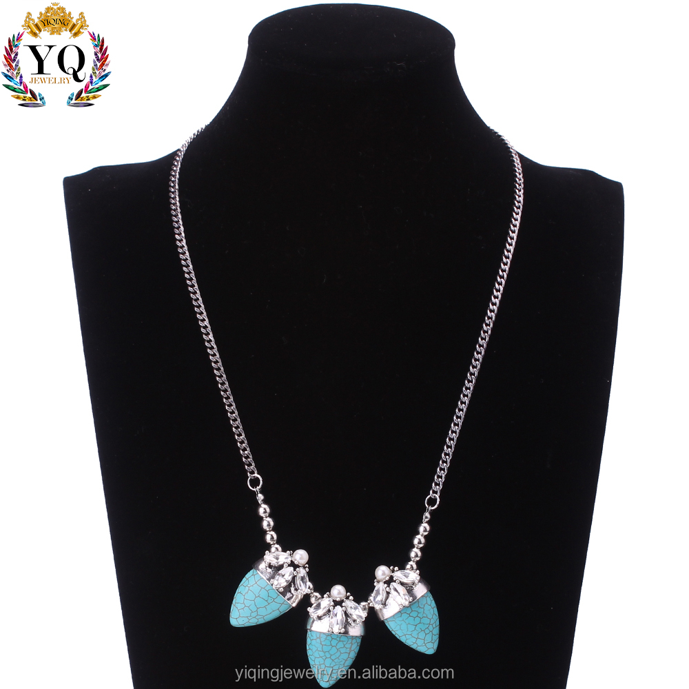 NYQ-00619 handmade beaded big geometic blue turquoise stone decorated with crystal pearl bib necklace