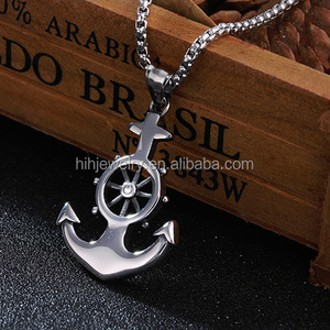 Men stainless steel custom dermal anchor wheel pendant necklace jewelry