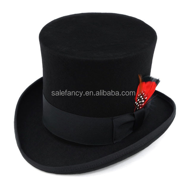 100% Wool mad hatter top hats, classic wool open top hat uk qhat-1927