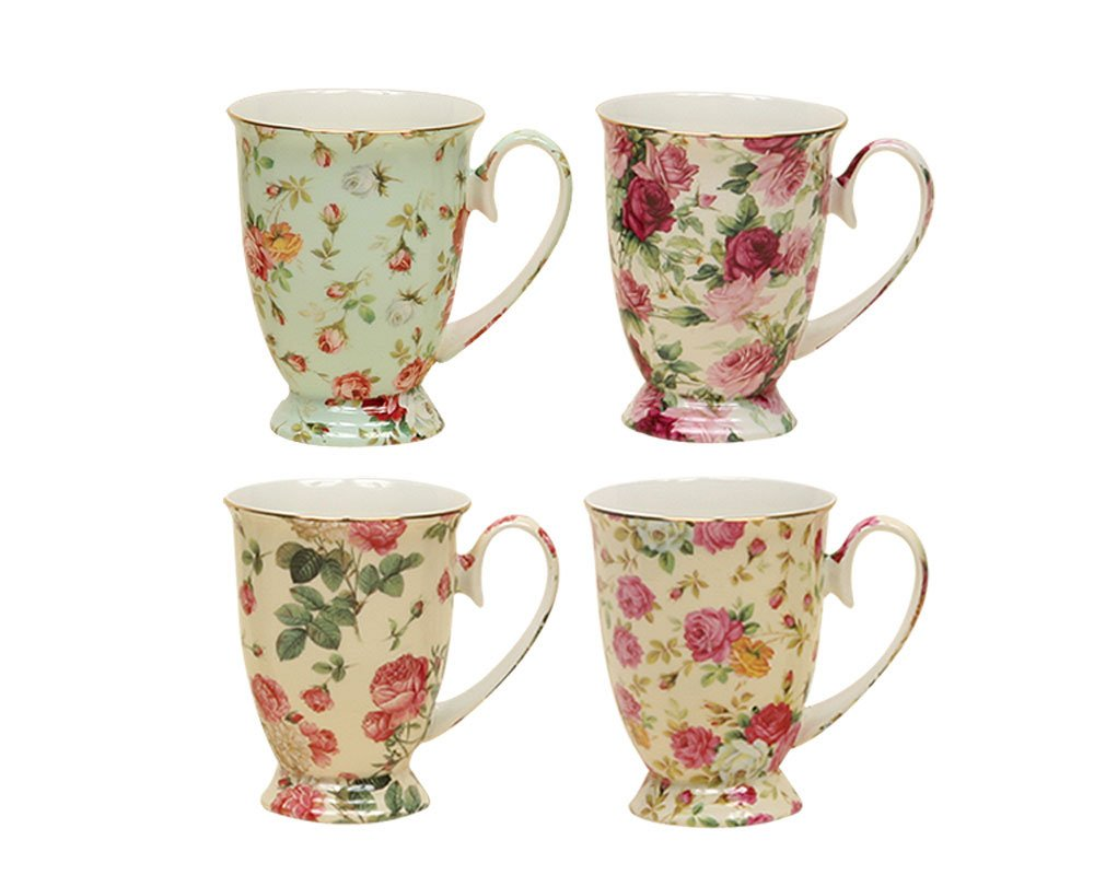 Gracie China by Coastline Imports Rose Chintz Porcelain Footed Mug Assorted with Gold Trim, 9-Ounce, Set of 4