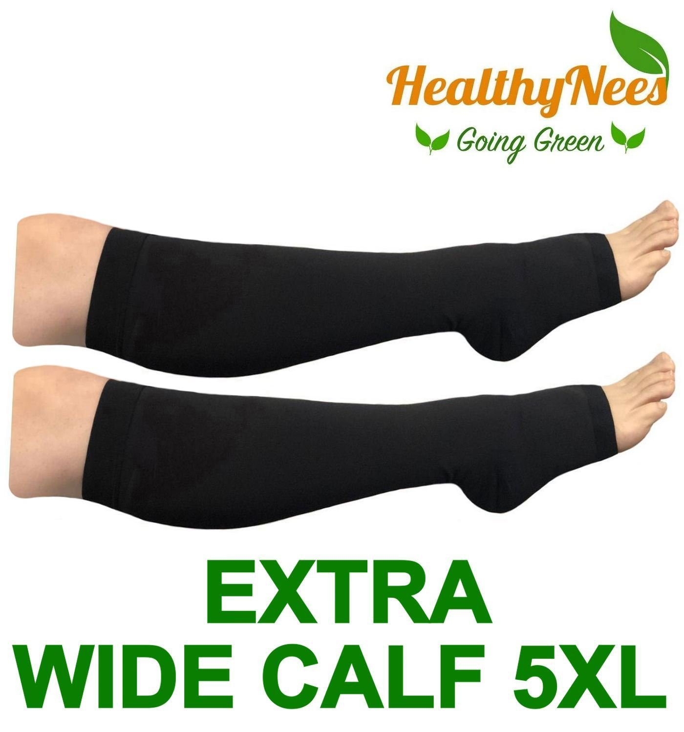 dd5e632da0b Get Quotations · HealthyNees Big Tall Plus Size Wide Calf   Extra Wide  20-30 mmHg Open Toe
