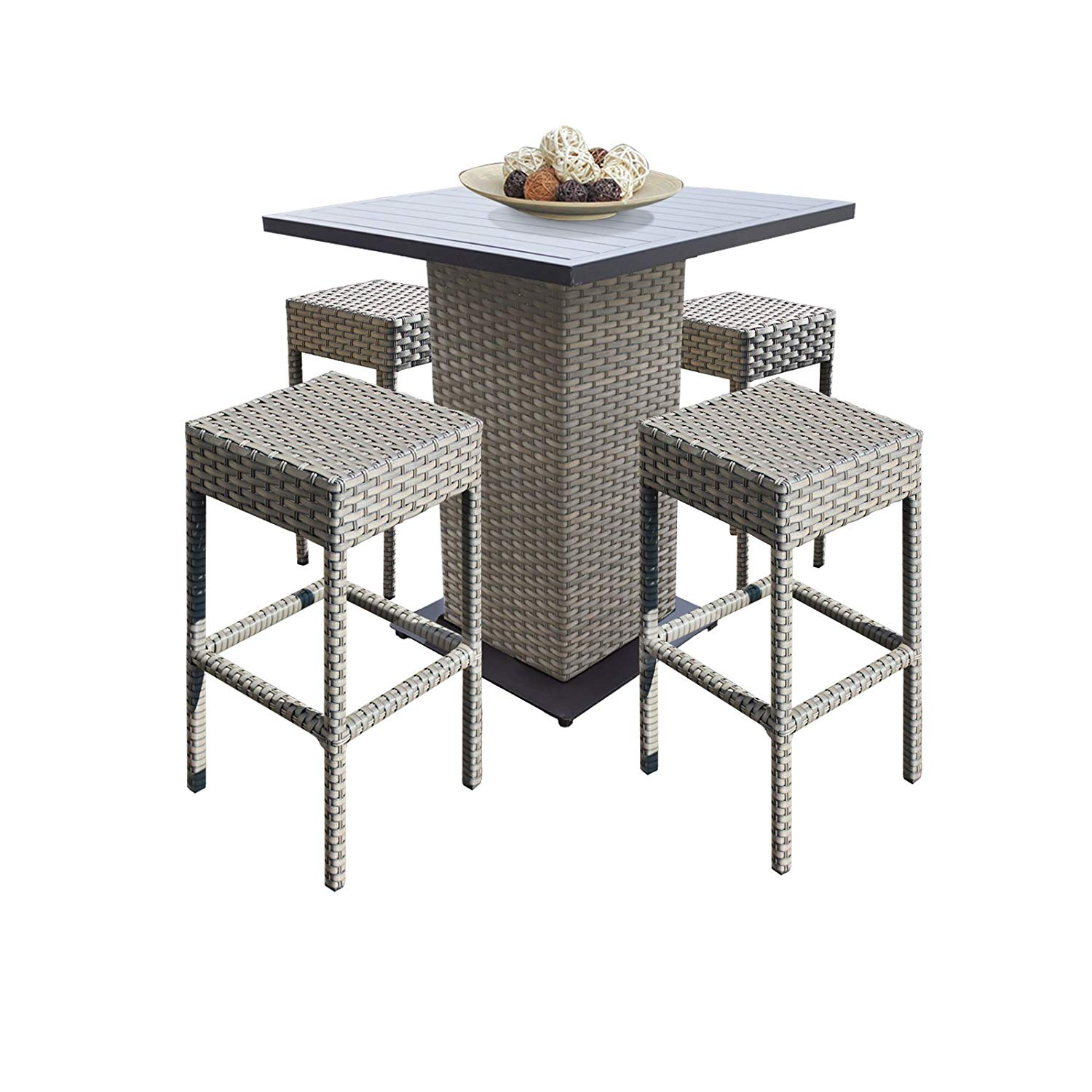 6d0feb8e08002 Get Quotations · TK Classics Oasis Outdoor Wicker Patio 5Piece Pub Table Set  with Backless Barstools Furniture, Grey