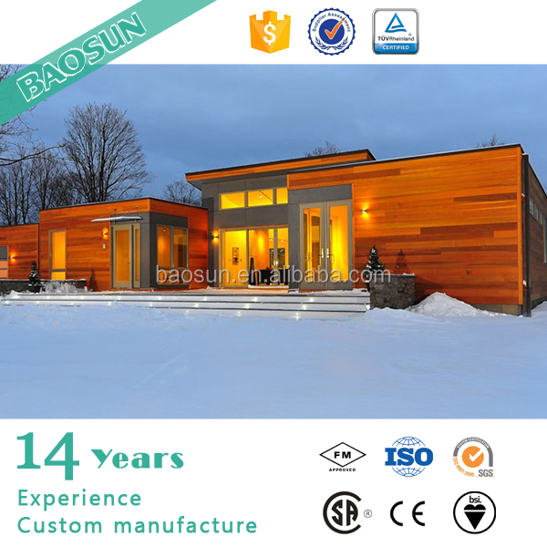 BAOSUN good insulation prefabricated house with wood cladding slop roof villa