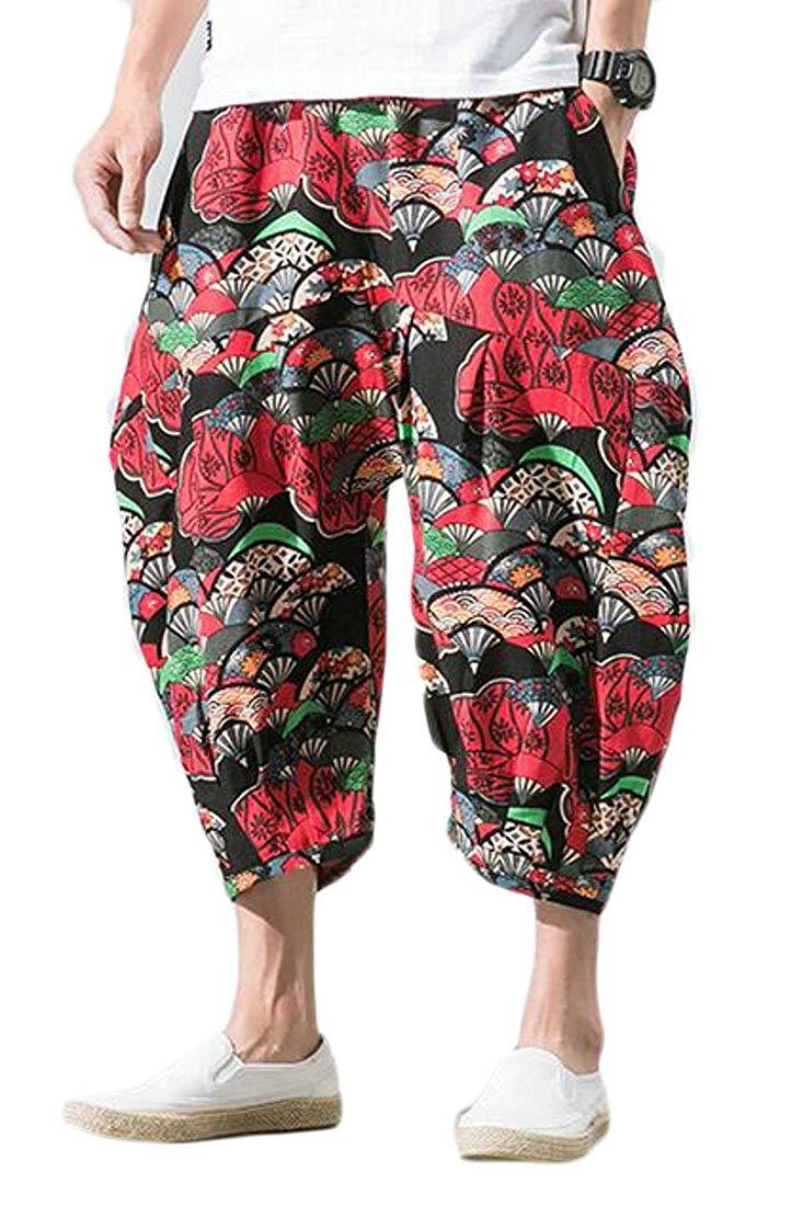 Colygamala Mens Summer Linen Drop Crotch Shorts Hippe Harem Shorts Capri 3//4 Pants