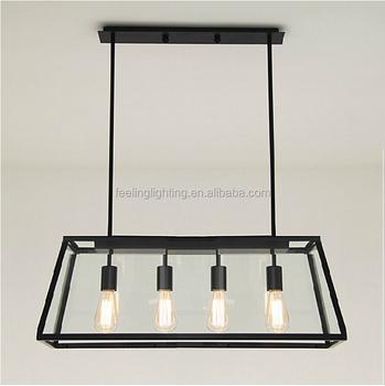 Vintage Loft Style Iron Frame Square Glass Pendant Light 4heads Industrial  Chandelier
