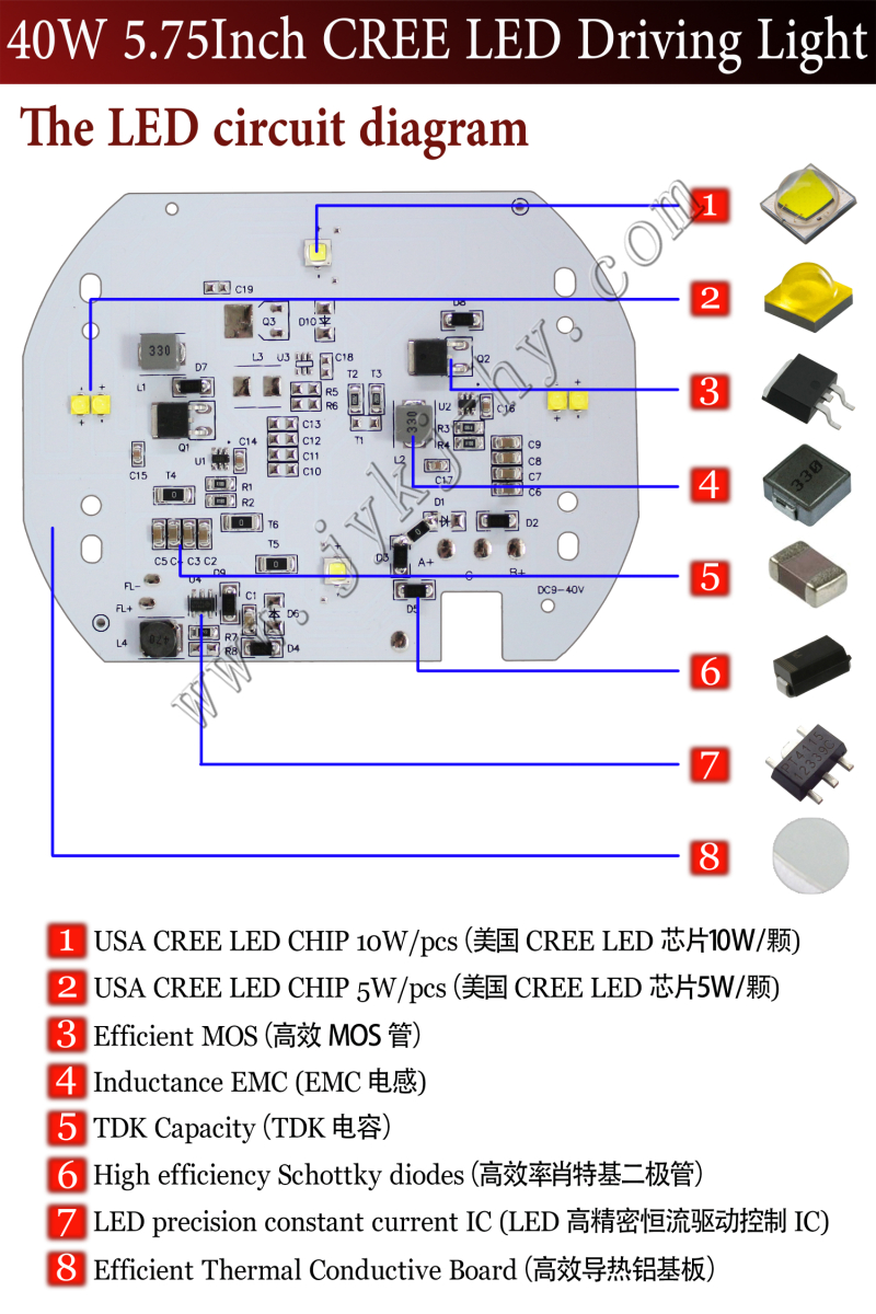 575 Inch Led Headlight For Harley Motorcycle 6v Cree Headlamps Wiring Diagram
