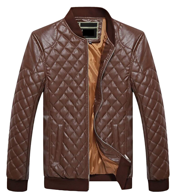 Letuwj Mens Jacket PU Coat Stand Collar Windbreaker