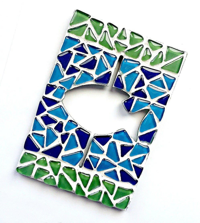 Mosaic Fish Plaque, Mosaic Fish Art Wall Hanging, Fish Wall Decor, Blue Green Fish Wall Decor, Mosaic Fish Bathroom Art, Blue Green Fish