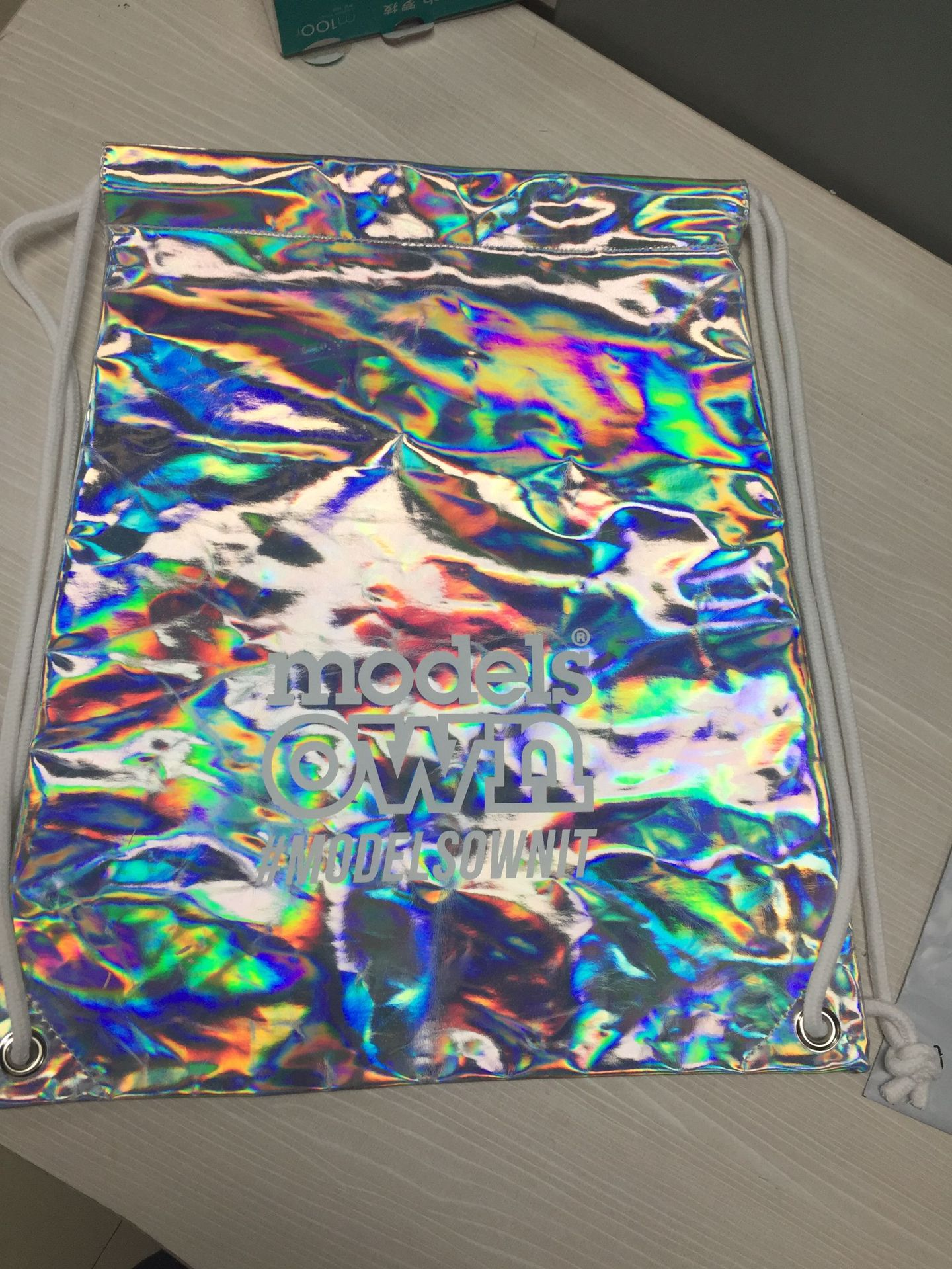 Custom silver color women girls drawstring backpack Holographic Laser PU Drawstring Bag Wholesale promotion