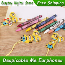 10pcs/lot Despicable Me Cartoon Anime The Minion Style 3.5mm In-Ear Headphones Earphones For Mobile Phone MP3 MP4