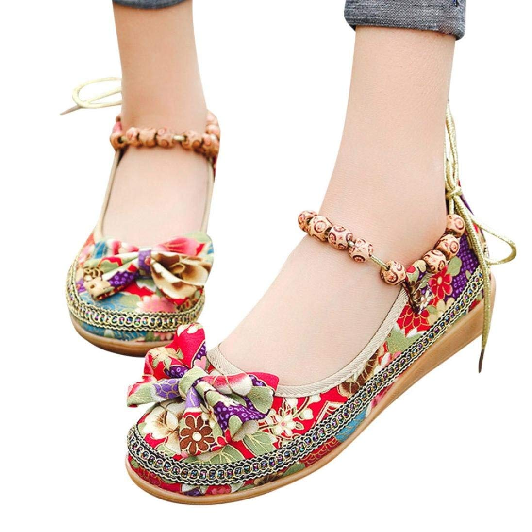 Gyoume Flat Sandals Shoes Womens Summer Girls Ladies Shoes Low Heel Shoes Embroidered Pearl Ankle Flat Casual Shoes