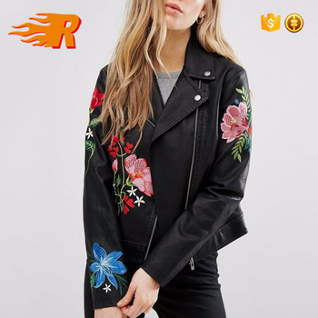 39bca0401 Women Cool Zipper Embroidered Faux Leather Biker Jacket - Buy Womens Faux  Leather Jacket,Embroidered Leather Biker Jacket,Cool Zipper Leather Jacket  ...