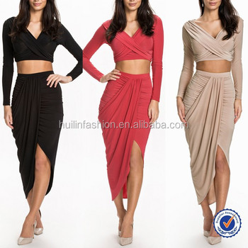 10cc43f67cb latest skirts and blouse design pictures with long sleeve crop top and maxi  skirt