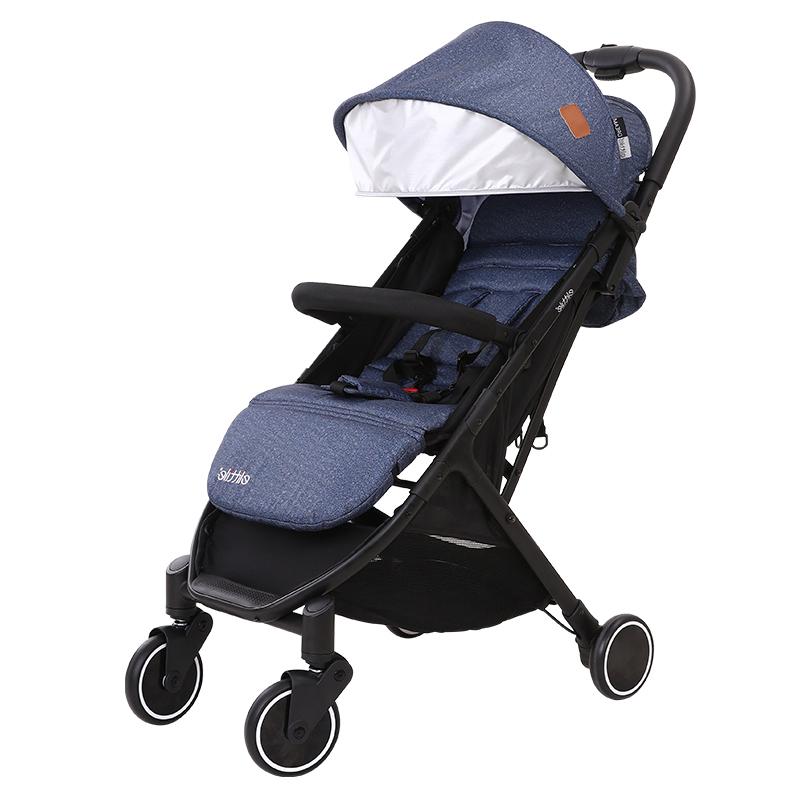 Lightweight Umbrella Folding Lying Can be sitting portable baby trolley, Mint green;almond powder;linen gray;denim blue