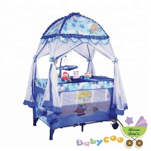 easy folding Baby Playpen with 2 wheels baby travel crib adjustable