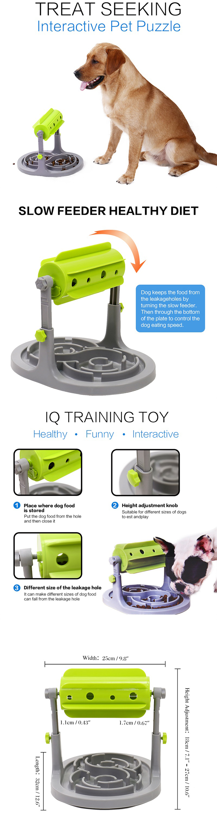 Speedypet Adjustable Smart Pet Products Dog IQ Training Pet Feeder