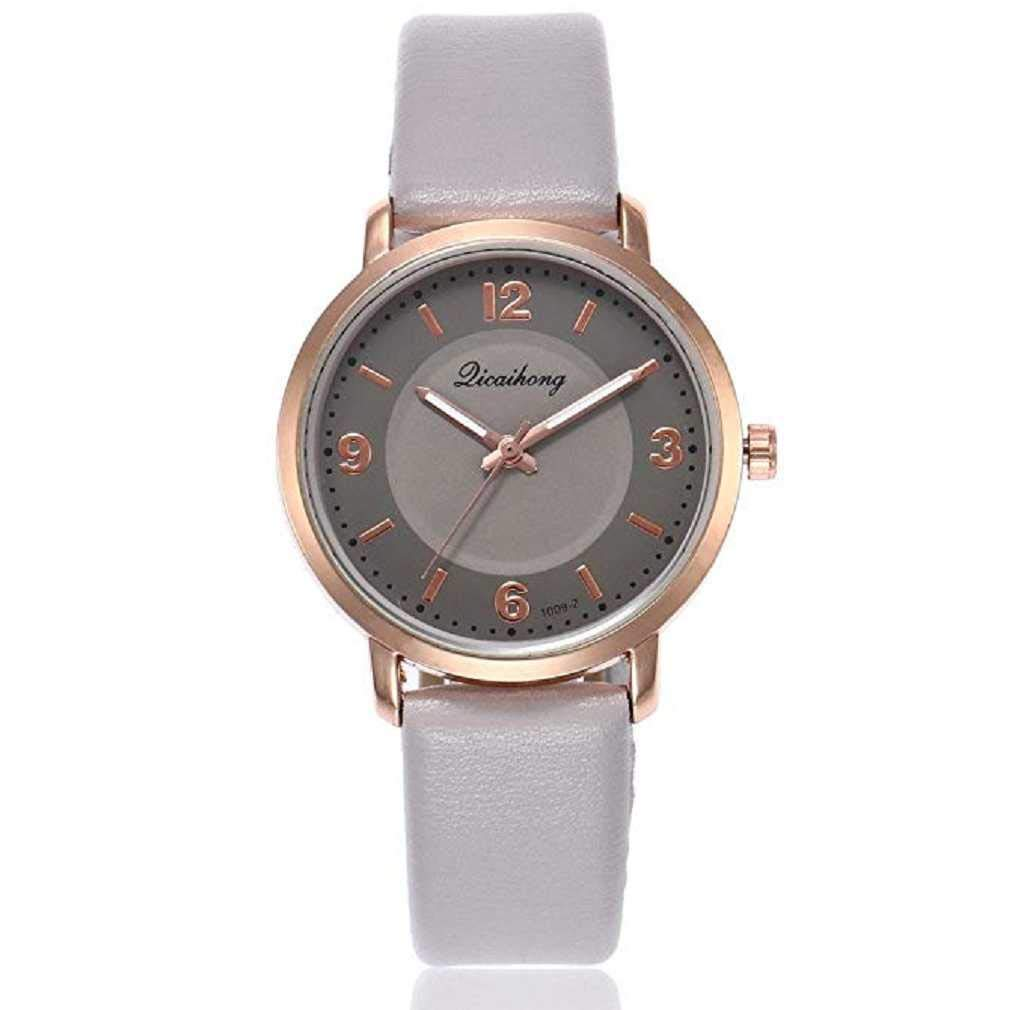 Clearance Sale! Womens Watches,ICHQ Womens Quartz Watches Ladies Casual Two Color Leather Band Round Wrist Watch Teens Fashion Alloy Analog Watches, Women Watches on sale clearance (Gray)