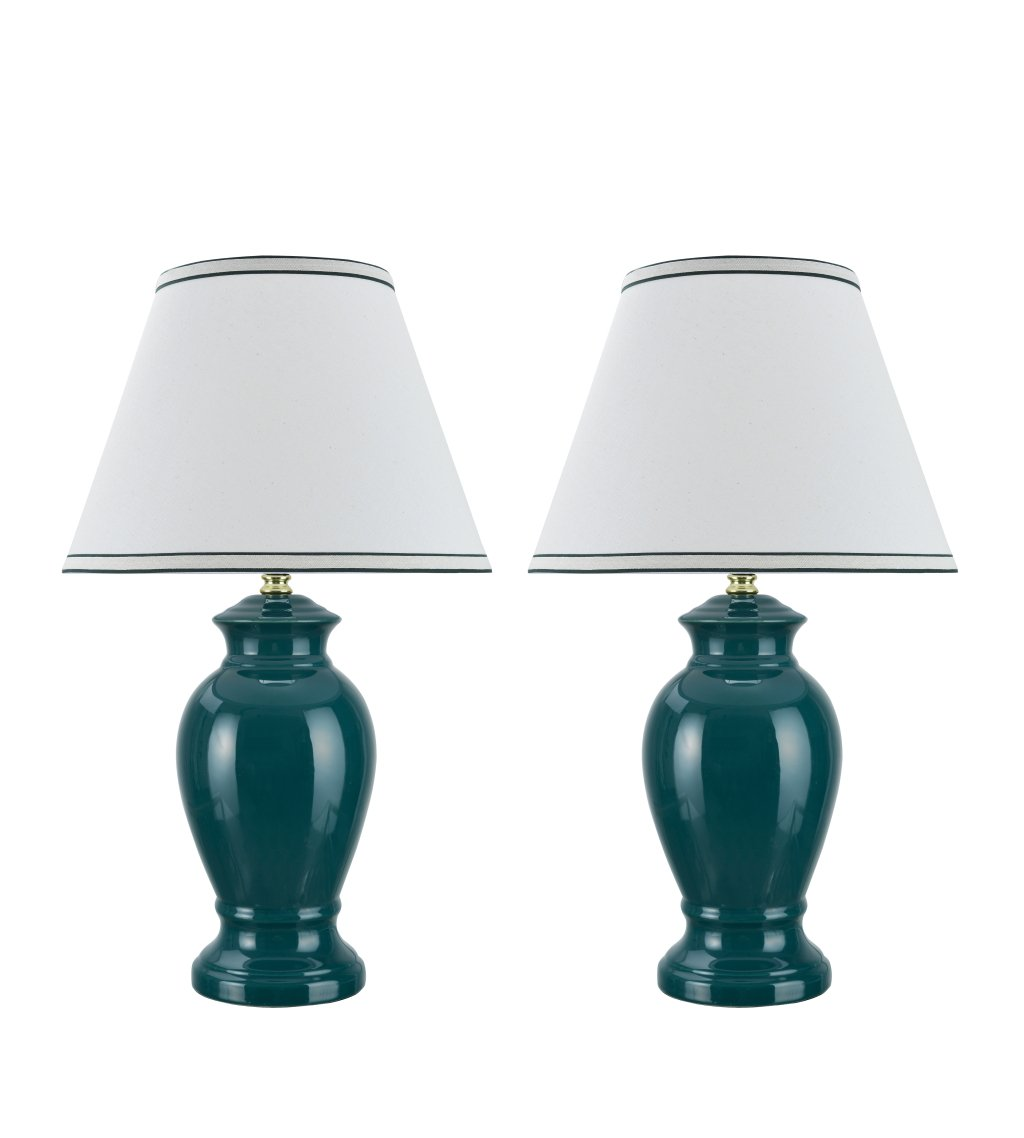 "Aspen Creative 40071, Two Pack Set Traditional Ceramic Table Lamp, Green with Hardback Empire Shaped Lamp Shade in Off-White, 13"" x 13"" x 21.5"", green"