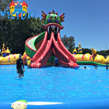 Outdoor inflatable pool with inflatable water slide Commercial inflatable  water park, View commercial inflatable water park, Victory Toys Product