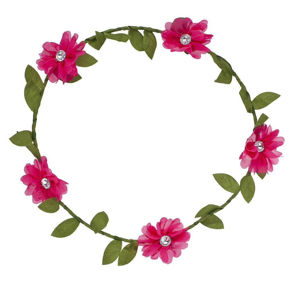Buy Lux Accessories Pink Chiffon Flower Coachella Flower Crown