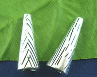 Wholesale Jewelry 15PCs Silver Tone Long End Bead Caps 28mm