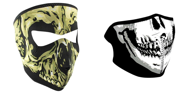 Small Glow in The Dark Zanheadgear Neoprene Full Face Mask Chrome Skull