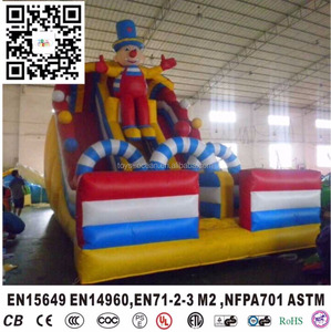 Happy giant inflatable jumping slides, inflatable clown double slides, inflatable kids slides for sales
