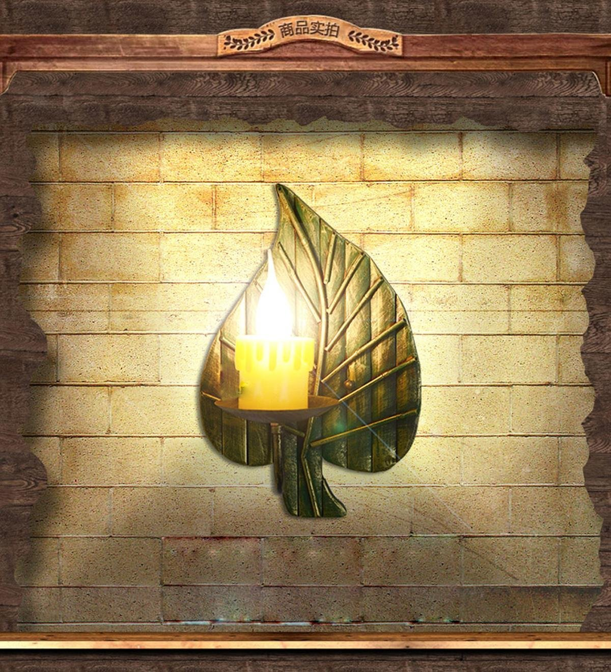 Modern decorative wall lamp American country wrought iron wall sconce candle creative retro living room wall lamp wall lamp bedside lamp Cafe Bar