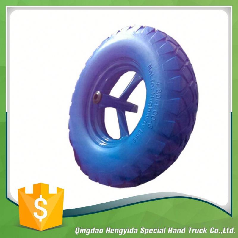 solid rubber pu foam wheel with plastic rim 4.80/4.00-8