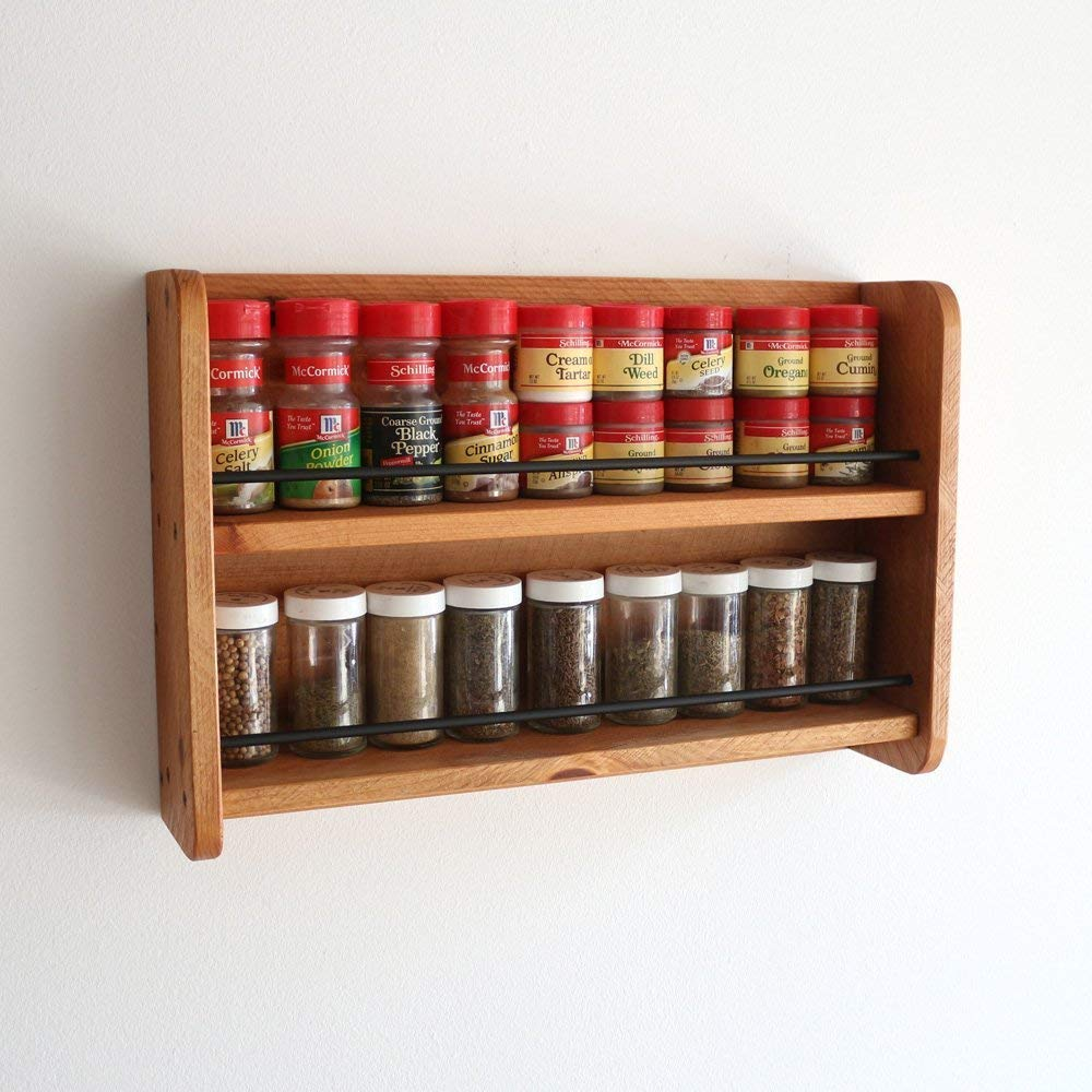 Wooden Spice Rack Wall Mounted 2 Tier Open Top Spice Shelf Kitchen Storage Organizer