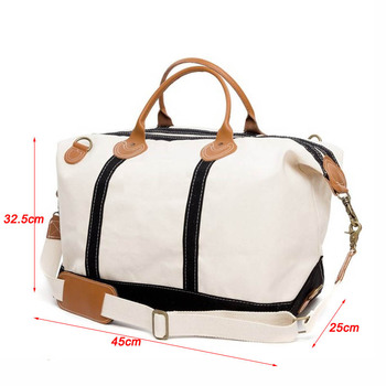Oversized Heavy Duty Canvas Weekender Bag Duffle Leather